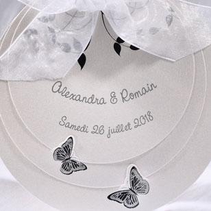 Faire part Mariage 49259 Blanc Rond Papillons Faire Part Selection 2