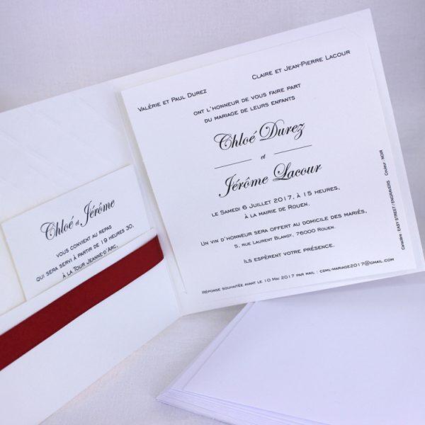 Faire part Mariage 49405R Ivoire Matelasse Orchidee Faire Part Selection 2
