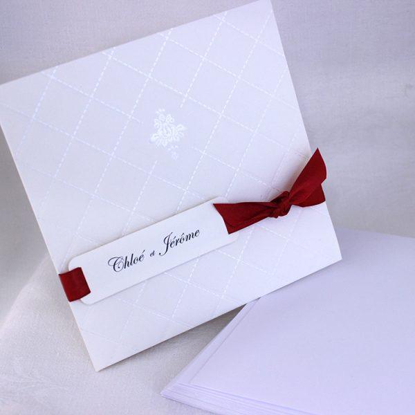 Faire part Mariage 49405R Ivoire Matelasse Orchidee Faire Part Selection