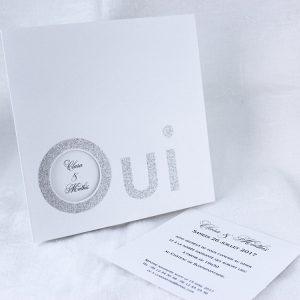 Faire part Mariage 49423 Blanc Argent Muguet Faire Part Selection