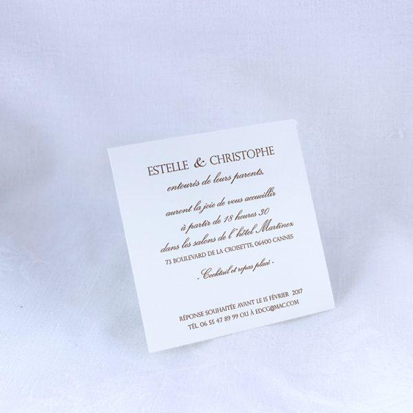 Faire part Mariage 49425 Marron Matelasse Chocolat Faire Part Selection invitation