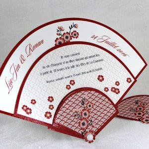 Faire part Mariage 49451 Original Rouge Sakura Faire Part Selection
