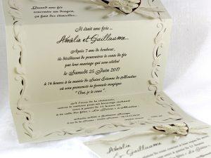 Faire part Mariage 49470 Creme Camelia Faire Part Selection