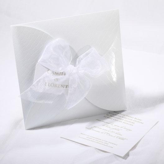 Faire part Mariage 49471 Blanc Croco Aida Faire Part Selection 2