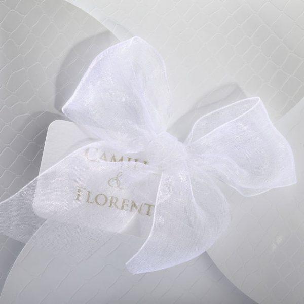 Faire part Mariage 49471 Blanc Croco Aida Faire Part Selection 4