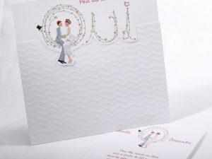 Faire part Mariage 49502 Romantique Blanc L'heure exquise Faire Part Selection