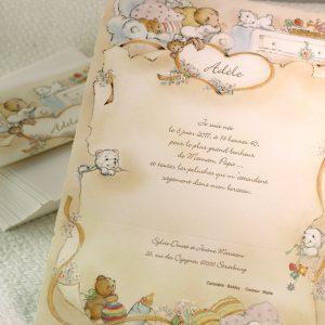 Faire part Naissance 81012 Orange Les doudous de bébé Faire Part Selection