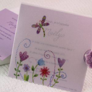 Faire part Naissance 85101 Violet Libellule Faire Part Selection