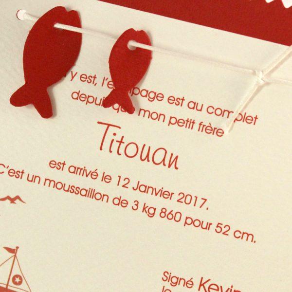 Faire part Naissance 85107 Rouge Le petit marin Faire Part Selection 2