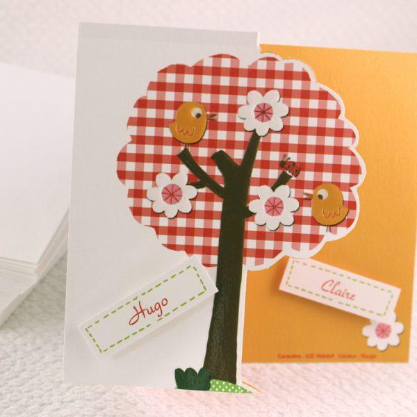 Faire part Naissance 89312 Colore Sur un arbre perché Faire Part Selection