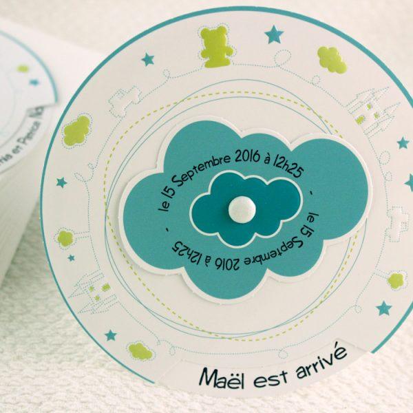 Faire part Naissance 89318 Rond Mon petit monde Garçon Faire Part Selection