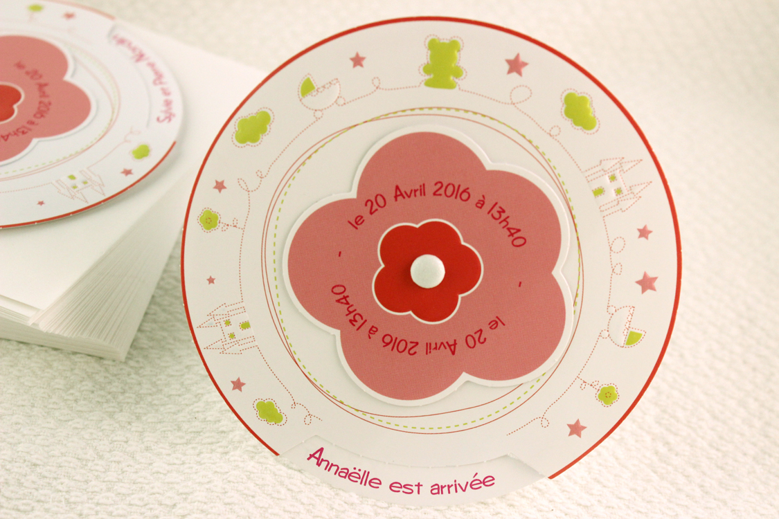 Faire part Naissance 89319 Rond Mon petit monde Fille Faire Part Selection