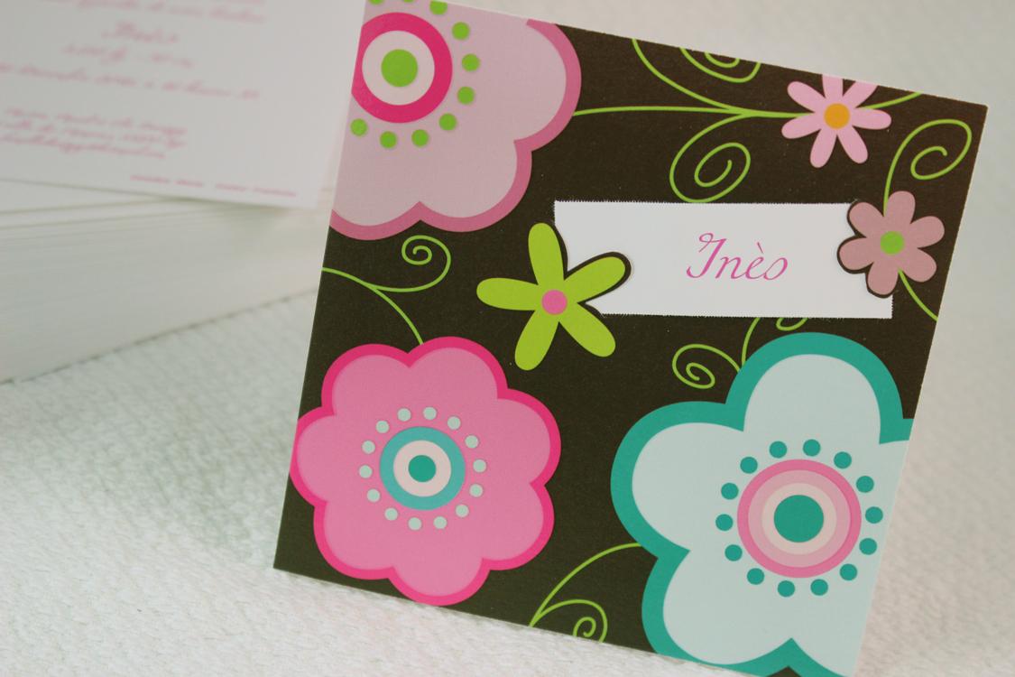 Faire part Naissance 89336 Marron Fleurs graphiques Faire Part Selection