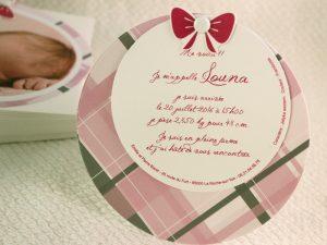 Faire part Naissance 89350 Rond Tartan rose Faire Part Selection