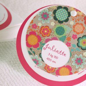 Faire part Naissance 89365 Rond Triptyque fuschia Faire Part Selection