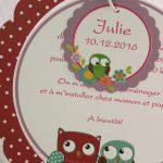 Faire part Naissance 89371 Rond Chouette fleurette Faire Part Selection 2