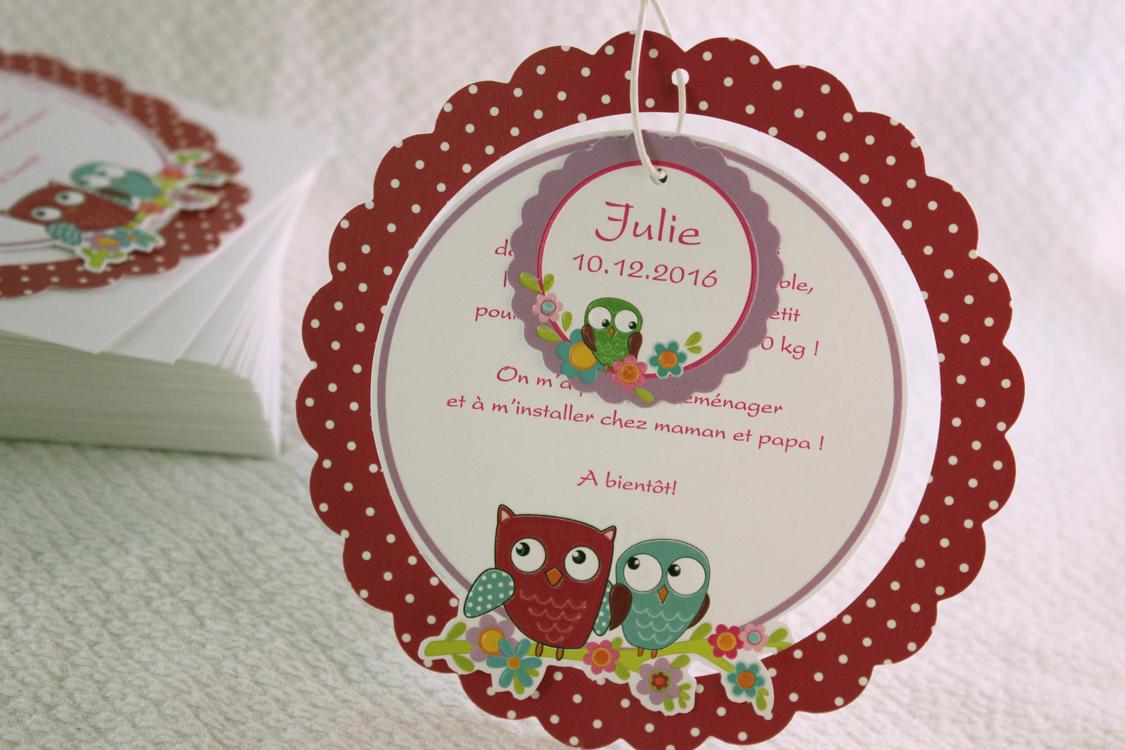 Faire part Naissance 89371 Rond Chouette fleurette Faire Part Selection