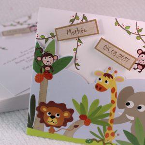 Faire part Naissance 89373 Animaux Petit lion et ses amis Faire Part Selection
