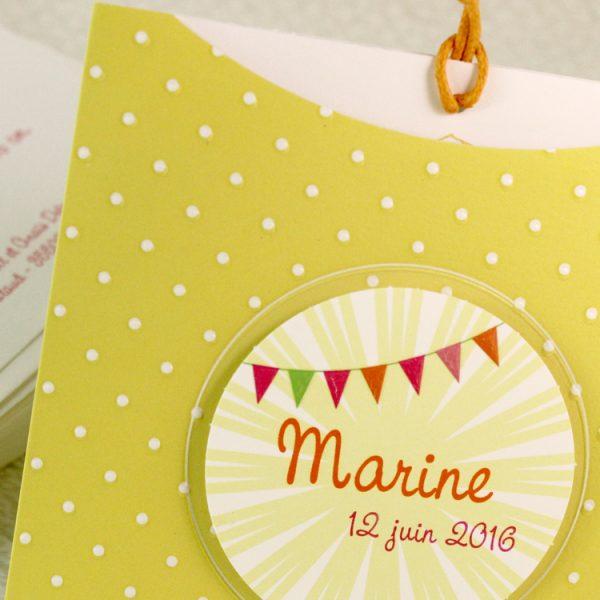 Faire part Naissance 89374 Jaune Pochette petits pois Faire Part Selection 3