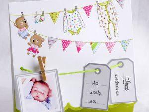 Faire part Naissance 89405 Colore Le linge de bébé Faire Part Selection