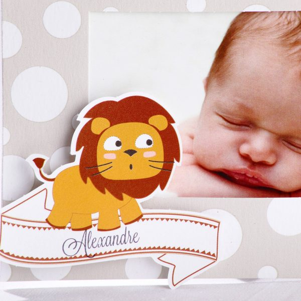 Faire part Naissance 89407 Gris Lion ou giraphon Faire Part Selection 3