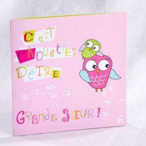 Faire part Naissance 89454 Rose Chouette grande soeur Faire Part Selection