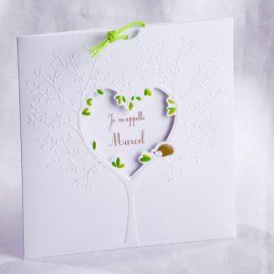 Faire part Naissance 89458 Blanc L'arbre coeur Faire Part Selection