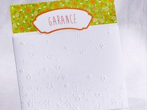 Faire part Naissance 89461 Blanc Pochette fleurie Faire Part Selection