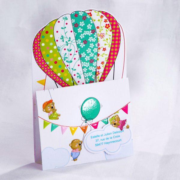 Faire part Naissance 89466 Colore En ballon Faire Part Selection