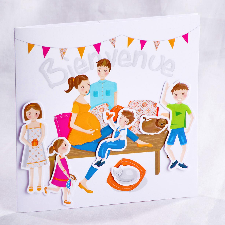 Faire part Naissance 89467 Colore La jolie famille Faire Part Selection