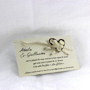 Invitation Mariage 59470 Creme Camelia Faire Part Selection