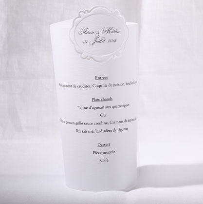 Menu Mariage 19501 Blanc Kissing You Faire Part Selection