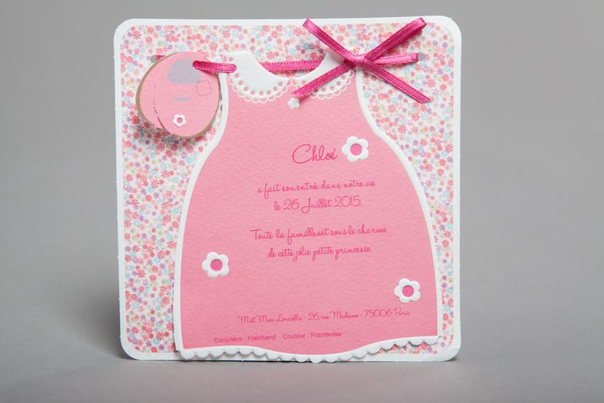 Faire part Naissance 89269 Rose La petite robe rose Faire Part Selection