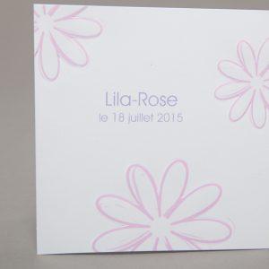 Faire part Naissance 89276 Rose Floral Faire Part Selection