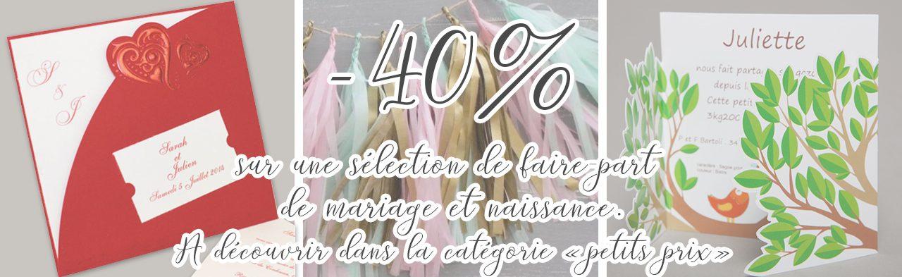 selection faire-part mariage & naissance -40%